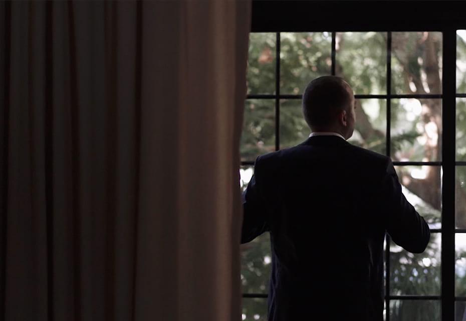 groom looking outside