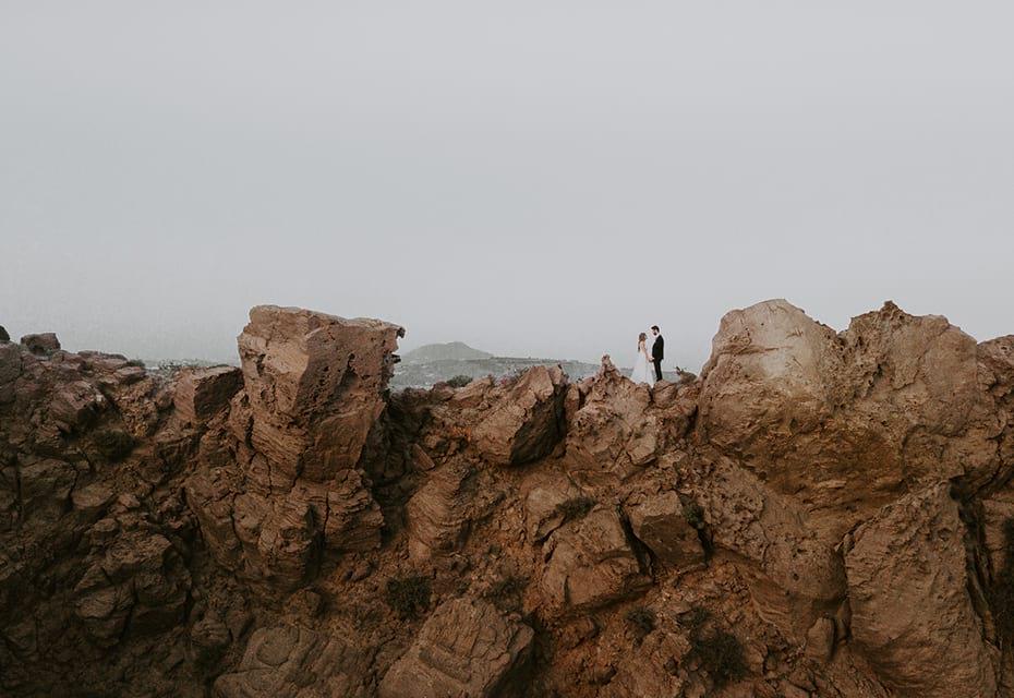 santorini wedding mountains
